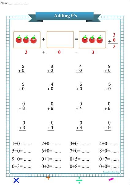 addition with zero worksheet pdf,