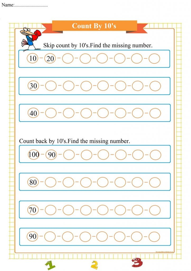 count by 10's worksheet,