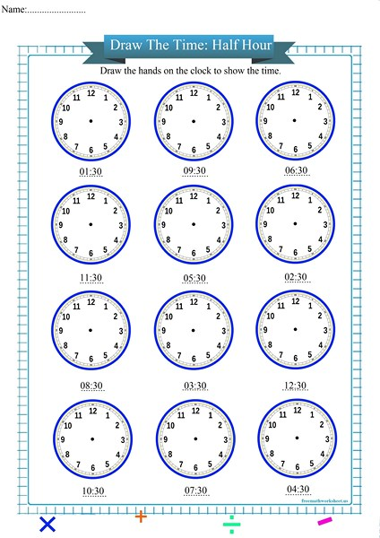 draw the time to the half hour worksheet pdf,