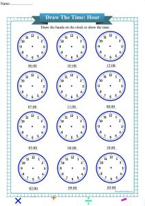 draw the time to the hour worksheet pdf,