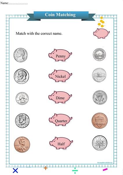 coin matching worksheet pdf,