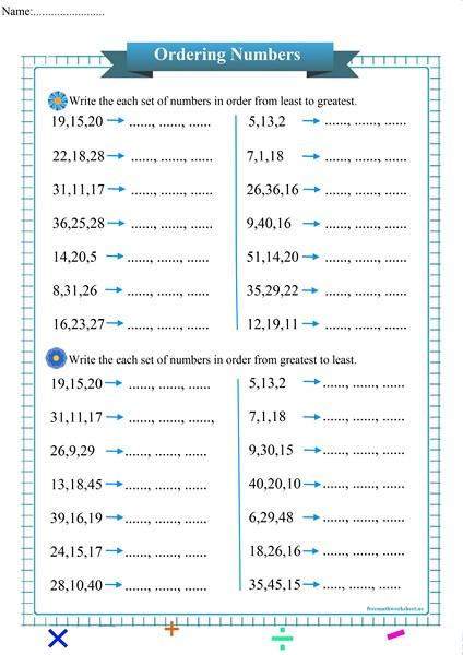 ordering numbers worksheet pdf,