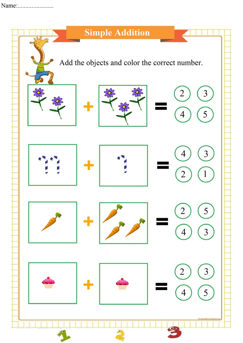simple addition worksheet with sum up to 5 | Free Math Worksheets