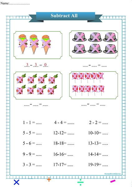 subtract all worksheet pdf,