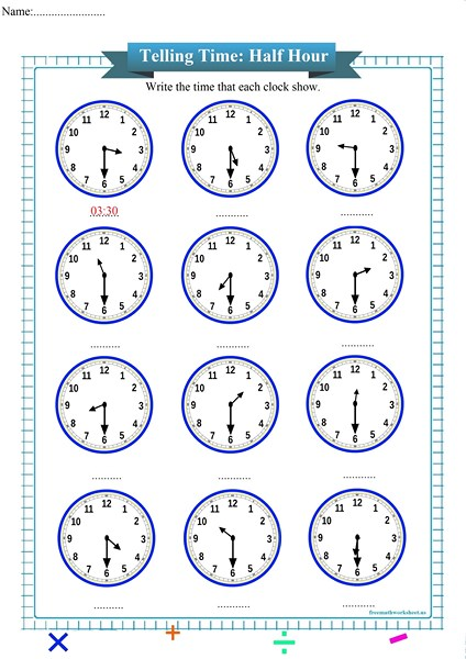 Telling Time To The Half Hour Worksheet Free Math Worksheets