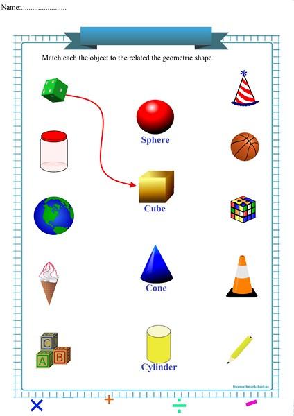 matching geometric shapes worksheet pdf,