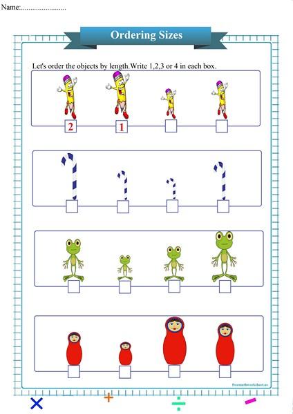 ordering sizes worksheet pdf,