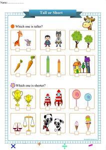 tall or short worksheet pdf,
