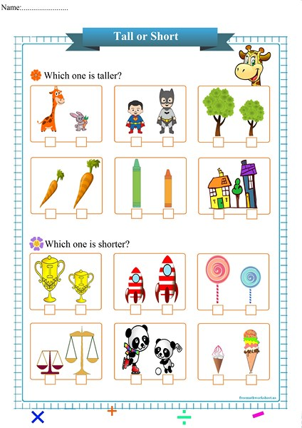 Tall Or Short Worksheet Pdf