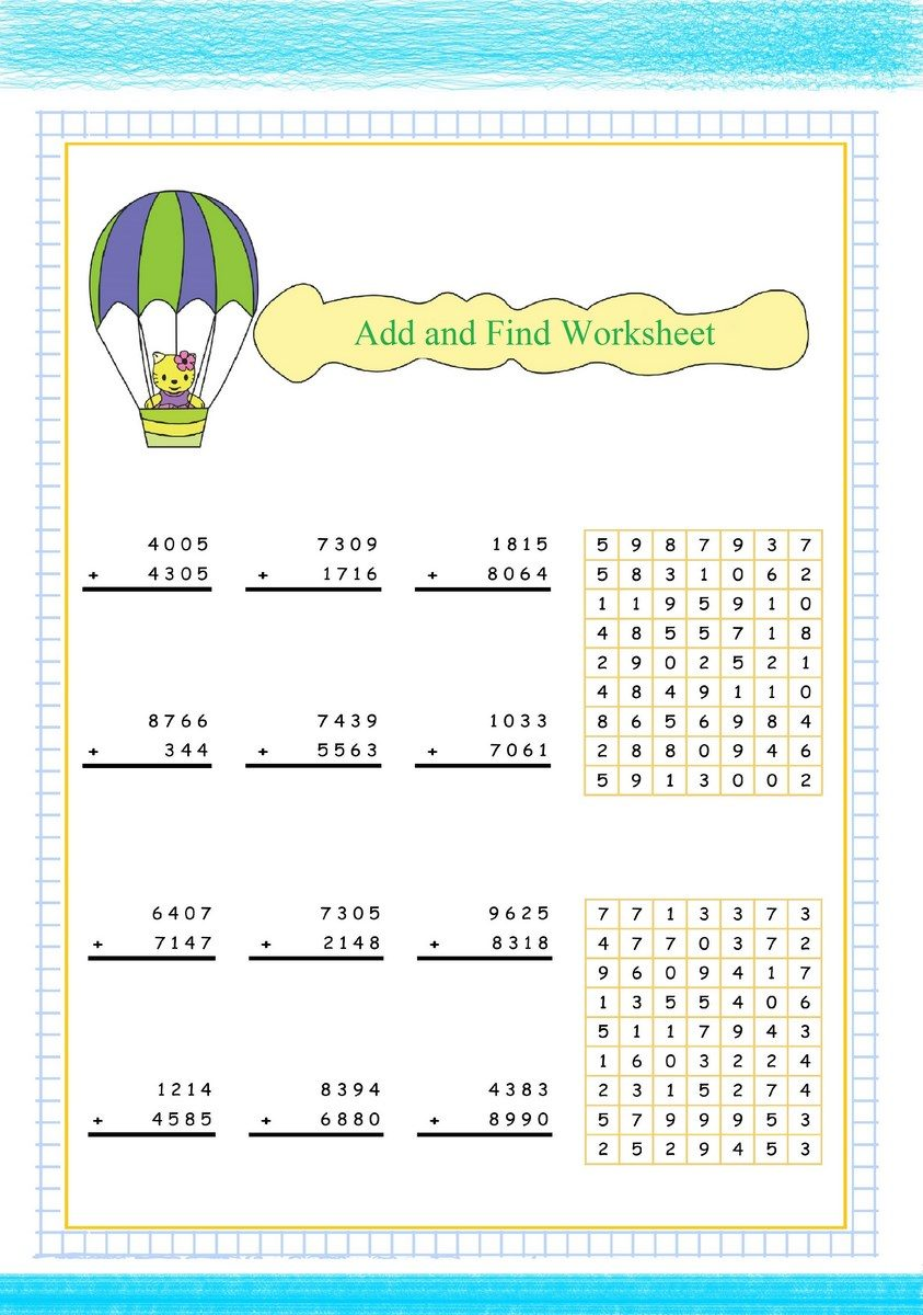 Addition Worksheet : Add and Find pdf