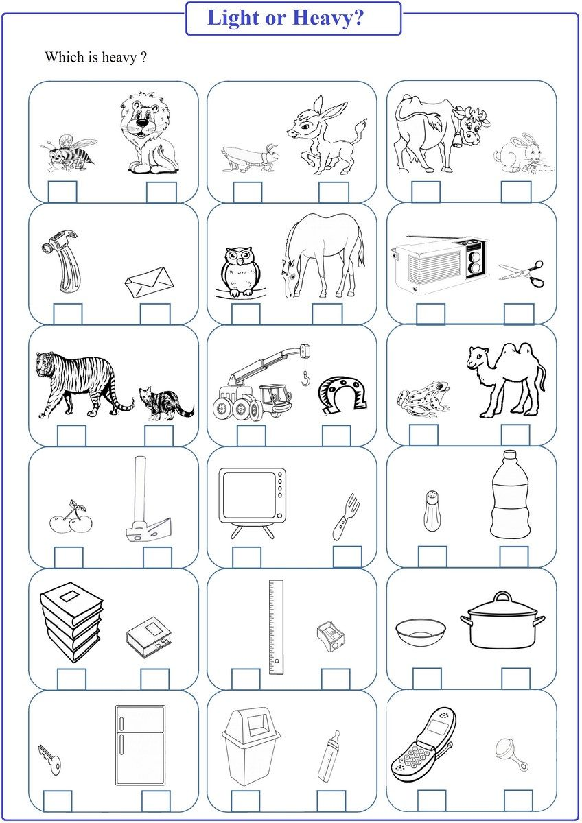 Heavy or Light Worksheet pdf | Free Math Worksheets