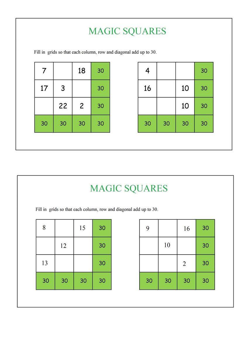 Magic Squares : Add up to 30 pdf