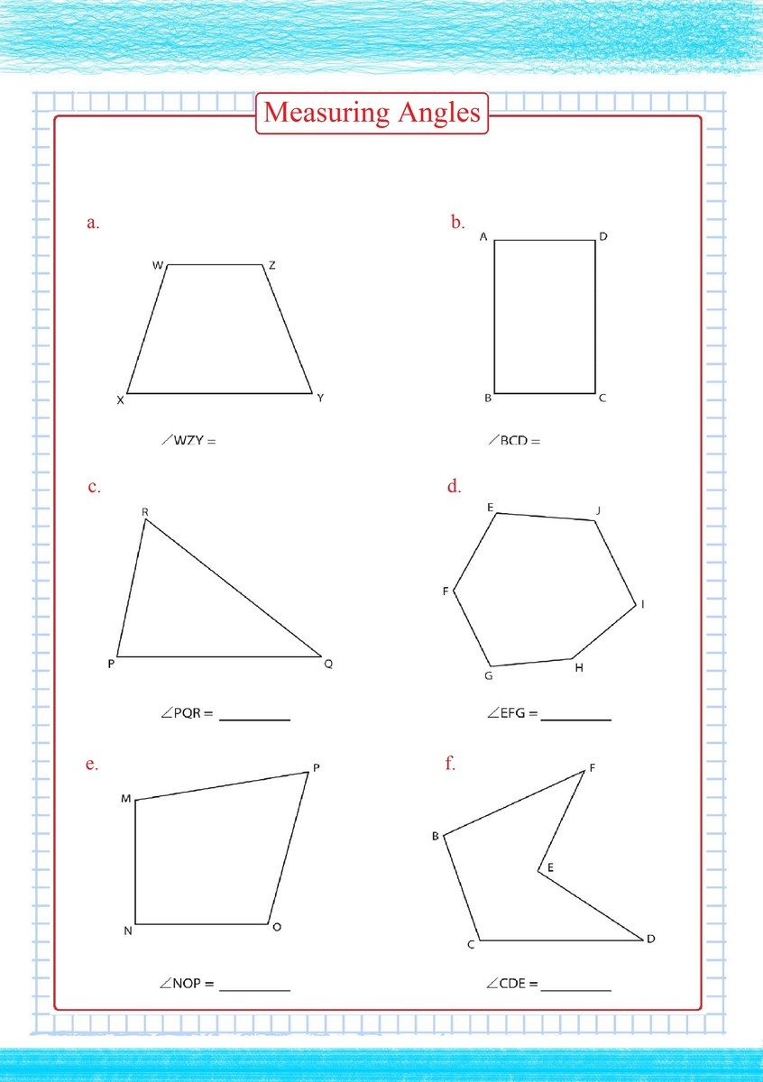 Measuring Angles Worksheets pdf