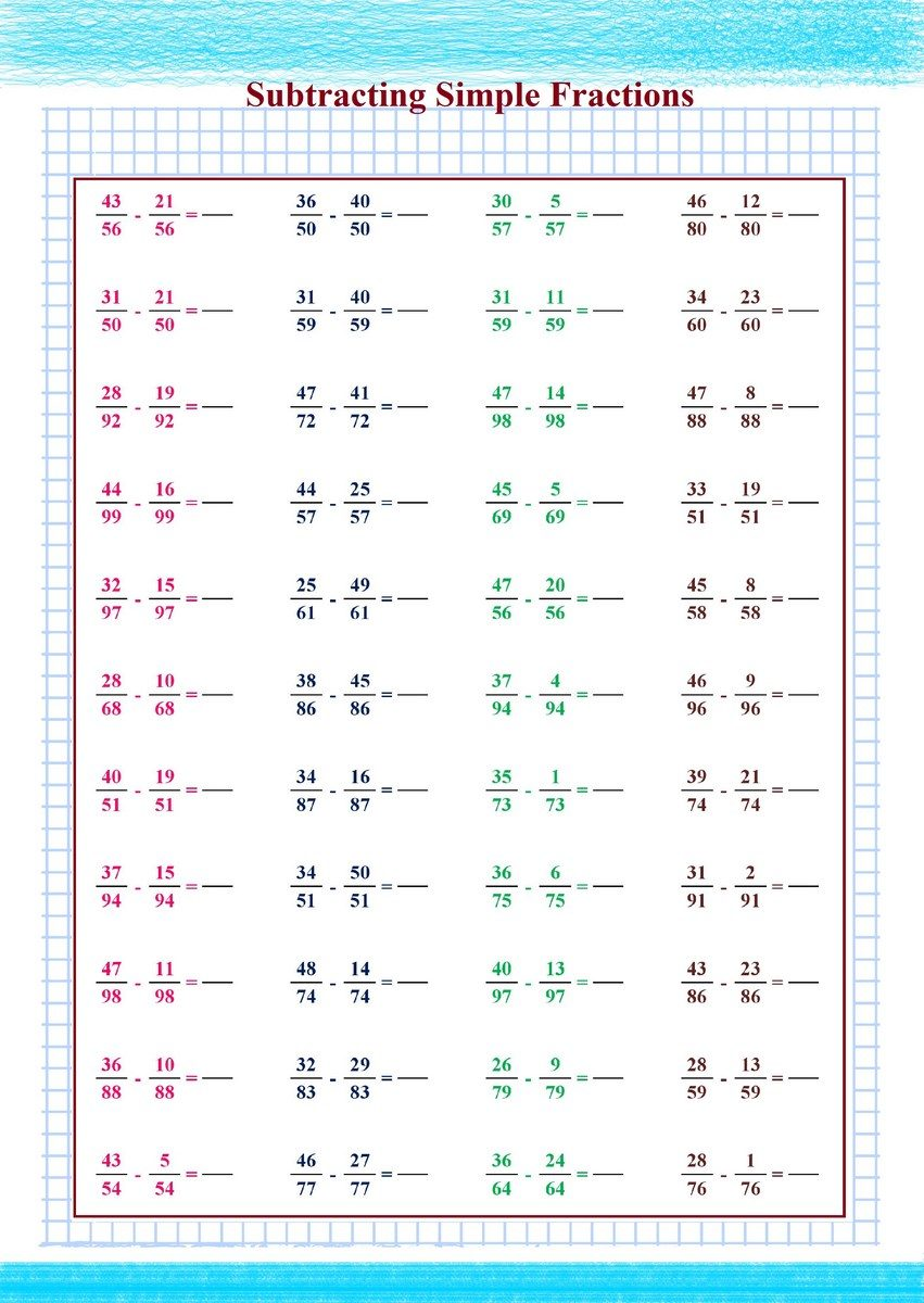 Subtracting Simple Fractions pdf
