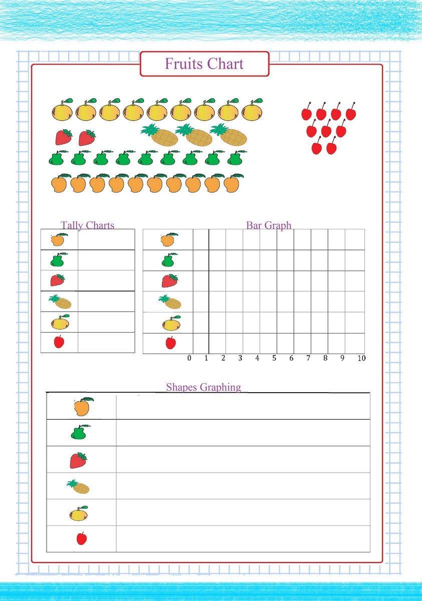 Fruits Chart Worksheet pdf